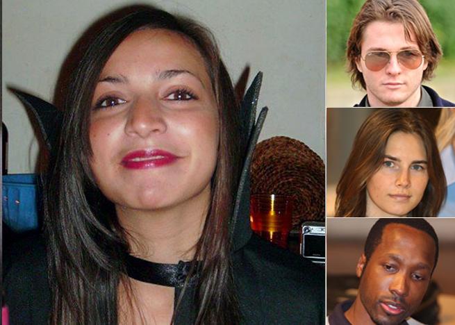 """Da sinistra la vittima Meredith Kercher, a dostra nei riquadri Raffaele Sollecito, Amanda Knox (assolto) e Rudy Gaude (condannato per omicidio in """"concorso"""")"""
