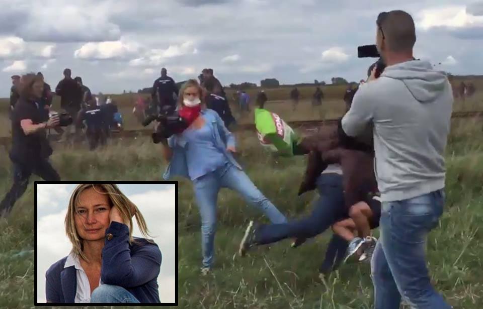 L'ormai ex reporter ungherese Petra László, nel riquadro, mentre è in azione contro i migranti