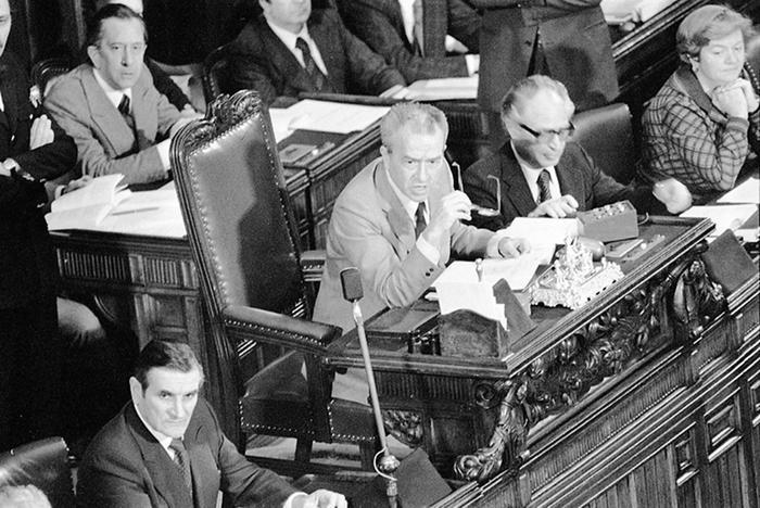 Pietro Ingrao ai tempi della presidenza della Camera nel 1977 (Archivio Ansa).