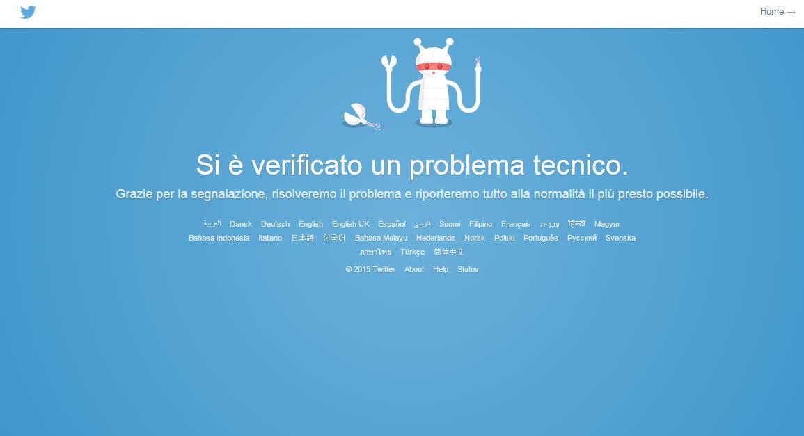 La pagina personalizzata che appare per chi vuole accedere a Twitter