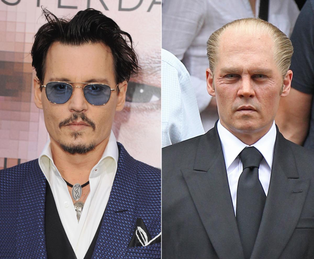 A sinistra, irriconoscibile, Johnny Depp nel film Black Mass. A destra l'attore americano