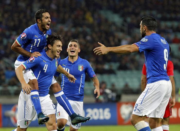 Azerbaijan Italia 1-3, esulta l'Italia e si qualifica a Euro 2016 in Francia (Epa)