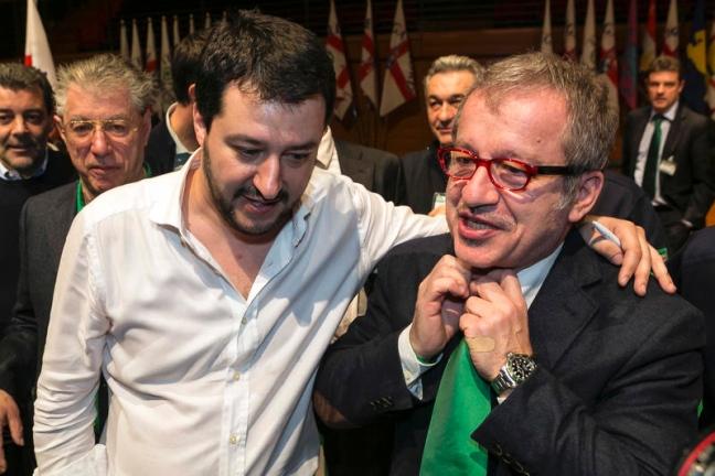Matteo Salvini con Roberto Maroni - Entrambi difendono Mario Mantovani
