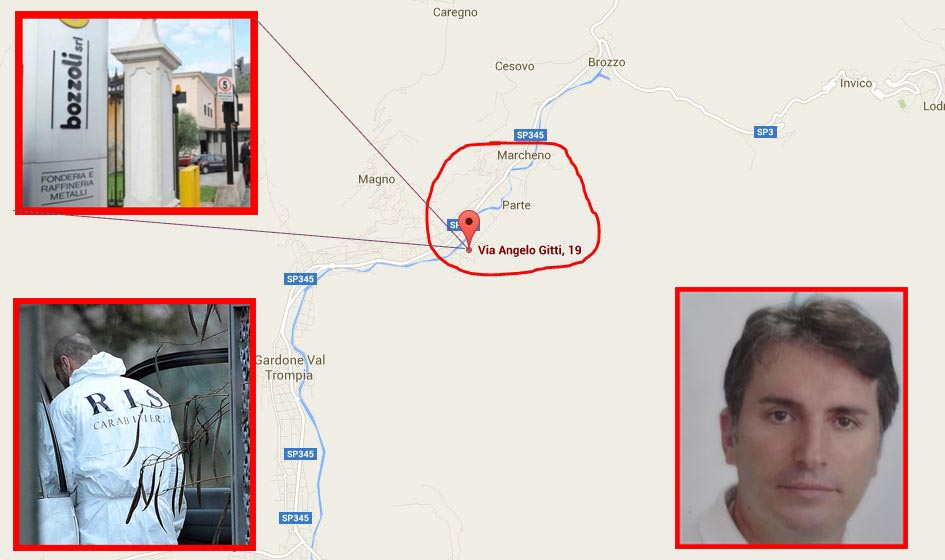 La mappa di Valtrompia, Marcheno, Brescia dov'è scomparso Mario Bozzoli