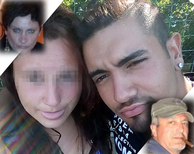 Antonio Tagliata e la fidanzata. Nei riquadri a sinistra la madre della ragazza. A destra in basso il padre Fabio Giaccone