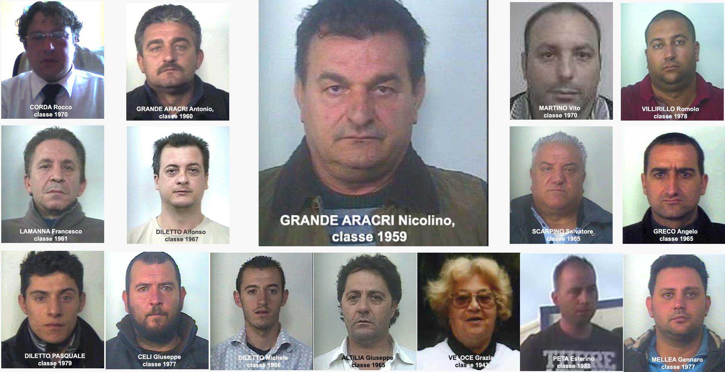 Gli arrestati nell'ambito dell'operazione Kiterion 2 - Grande Aracri