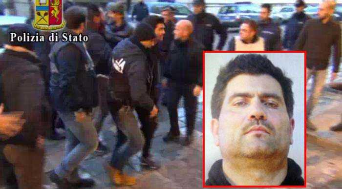 Un frame video della Polizia di Stato mostra un momento della cattura di Fabio Perrone (riquadro)