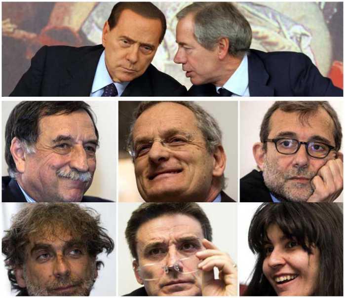 In alto Berlusconi e Bertolaso - Sotto i candidati alle primarie del centrosinistra a Roma