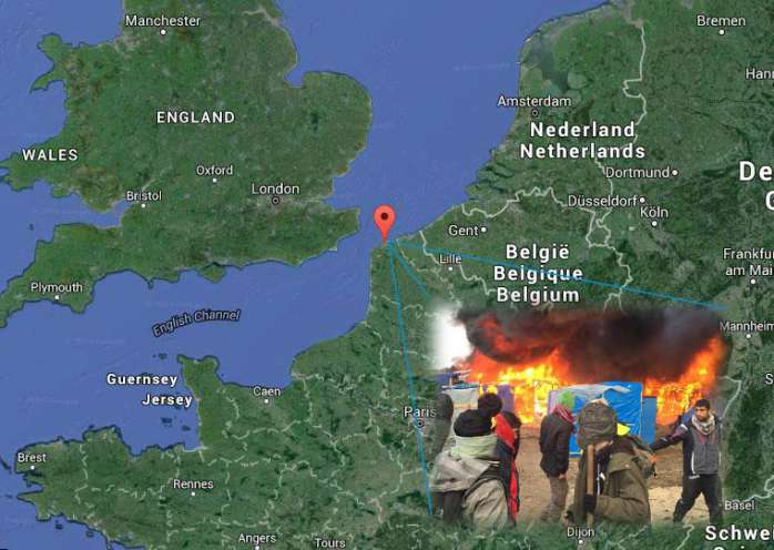 Sgombero migranti a Calais in Francia. Alta tensione