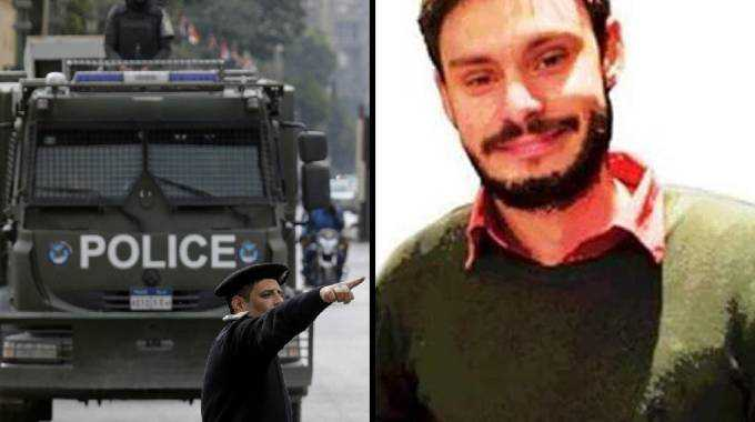 A destra Giulio Regeni. A sinistra la Polizia in piazza Tahrir a Il Cairo