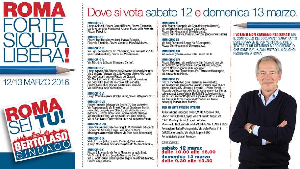 Una infografica di Forza Italia con i luoghi dei gazebo nei municipi