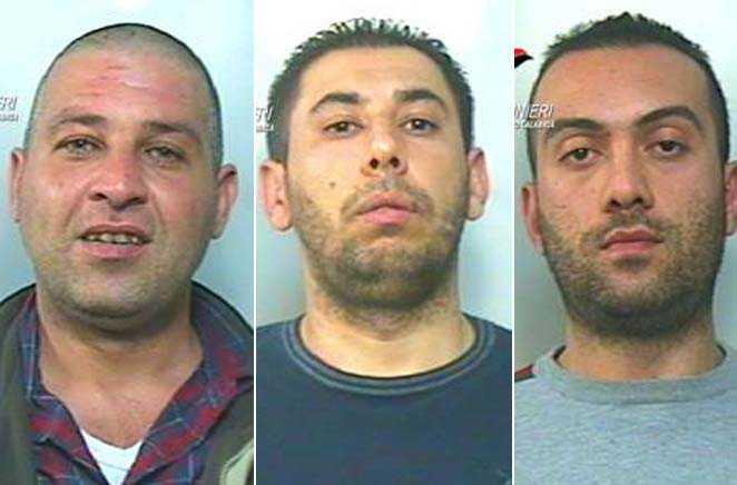 Da sinistra i tre presunti rapinatori: Giuseppe Gallo, Domenico Scandinaro e Antonio Barrese