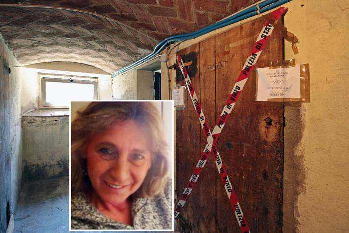 Nel riquadro la vittima, Betta Fella, a destra l'ingresso della cantina