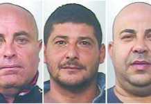 Da sinistra Alfonso Dardano, Massimo Esposito e Francesco Antonio De Santis arrestati tra Mirto Crosia e Rossano