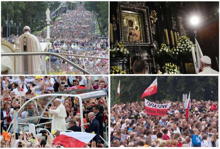 Quattro immagini della giornata di Papa Francesco a Czestochowa (Ansa/Epa)