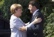Angela Merkel e Matteo Renzi al vertice bilaterale di Maranello