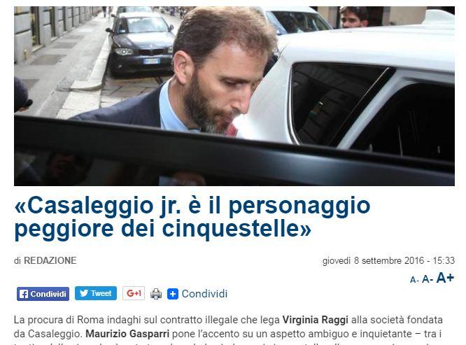 Caos M5S, Gasparri (Fi): Procura indaghi su contratto Raggi-Casaleggio