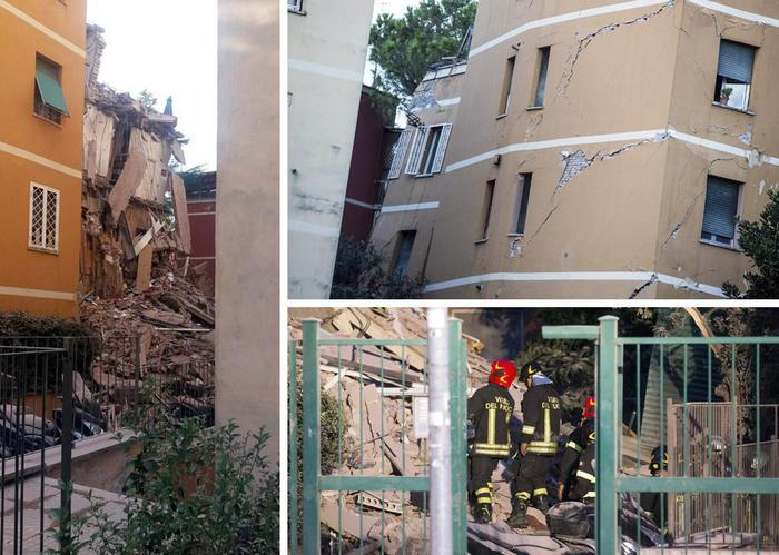 Combo palazzo crollato a Roma