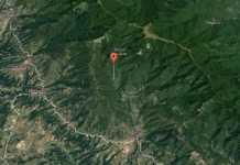 Mappa dove sarebbe avvenuto lo schianto del velivolo a Loro Ciuffenna