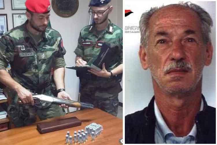 Militari con l'arma e munizioni sequestrate a Galatro e a destra Rocco Aloe