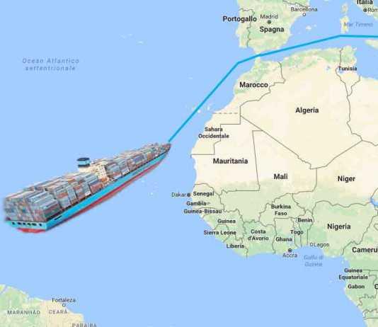 La mappa della rotta della nave con la cocaina sequestrata a Gioia tauro