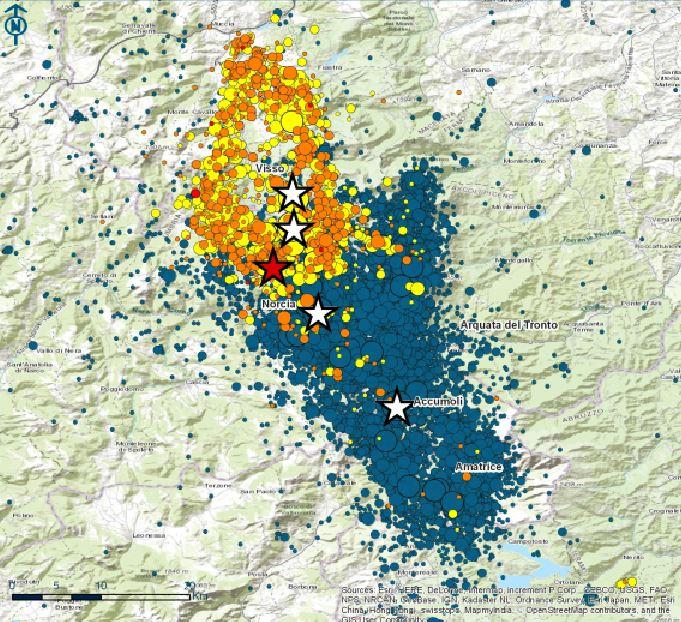 La cartina con il nuovo terremoto. La stella rossa indica l'epicentro della nuova scossa tra Norcia e Preci