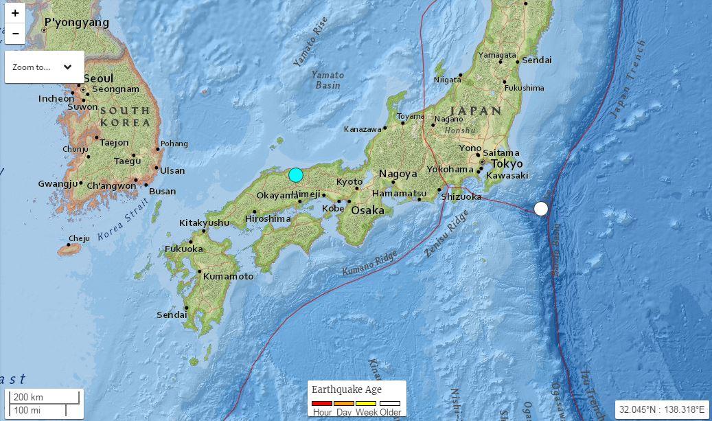 La prefettura di Tottori dove si è verificato il terremoto in Giappone