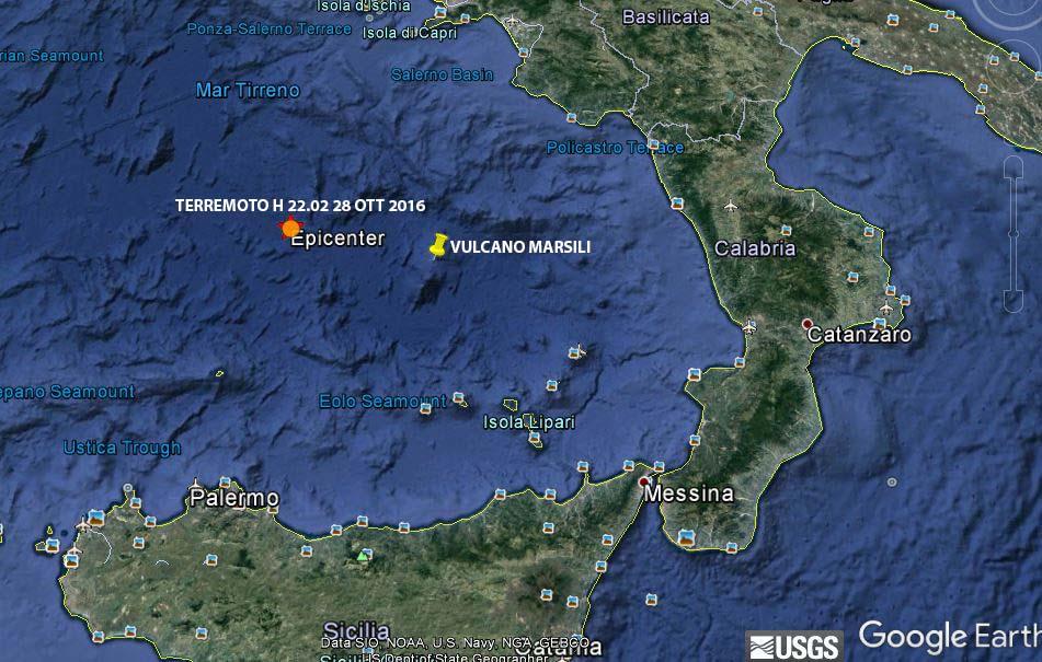 Il terremoto nel Tirreno  meridionale