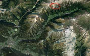 Cerchiato in rosso la zona del Gran Pilastro, Val di Vizze dove si è staccata la valanga