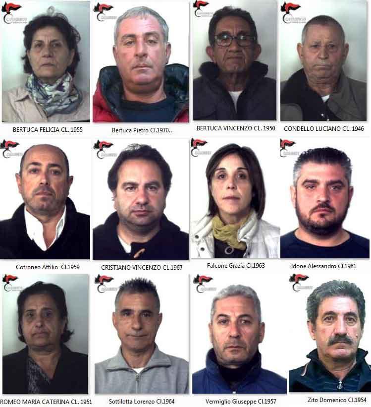 Alcuni degli arrestati nell'operazione Sansone contro il clan Condello