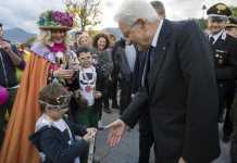 Il capo dello Stato Sergio Mattarella durinte la sua visita a Camerino, nelle Marche