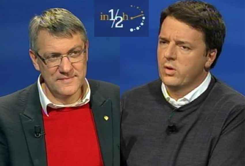 Maurizio Landini e Matteo Renzi a in Mezz'ora