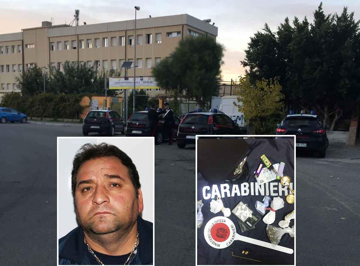Sullo sfondo i militari di Crotone durante il blitz. Nei riquadri, Antonio Passalacqua e la droga sequestrata.