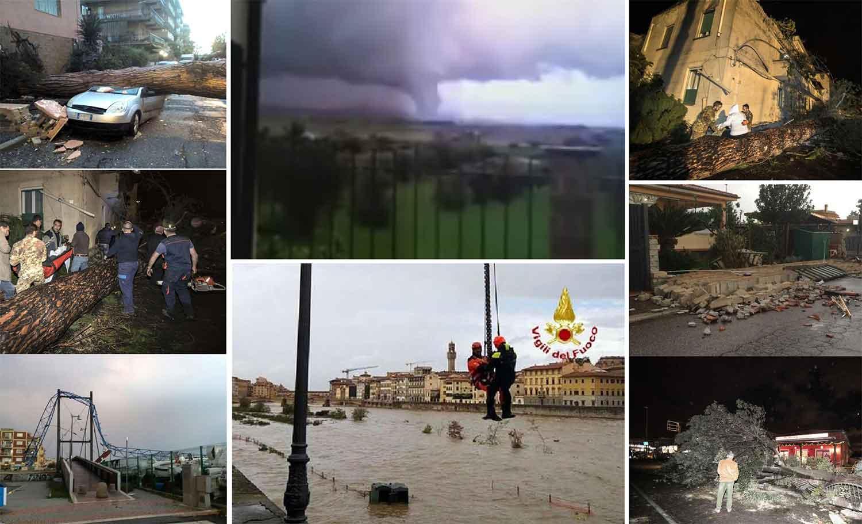 danni della tromba d'aria tra Roma e Firenze