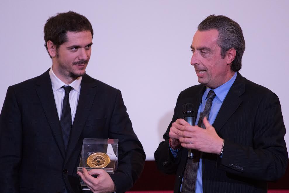 Il regista Gabriele Mainetti con Giuseppe Citrigno