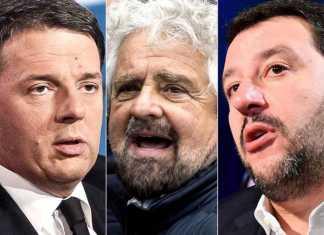 Renzi Grillo e Salvini