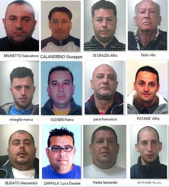 Gli arrestati nell'operazione antimafia a Catania