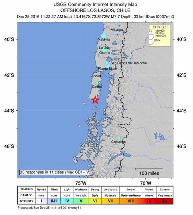 Potente terremoto in Cile: Magnitudo  7.7. Crolli e feriti