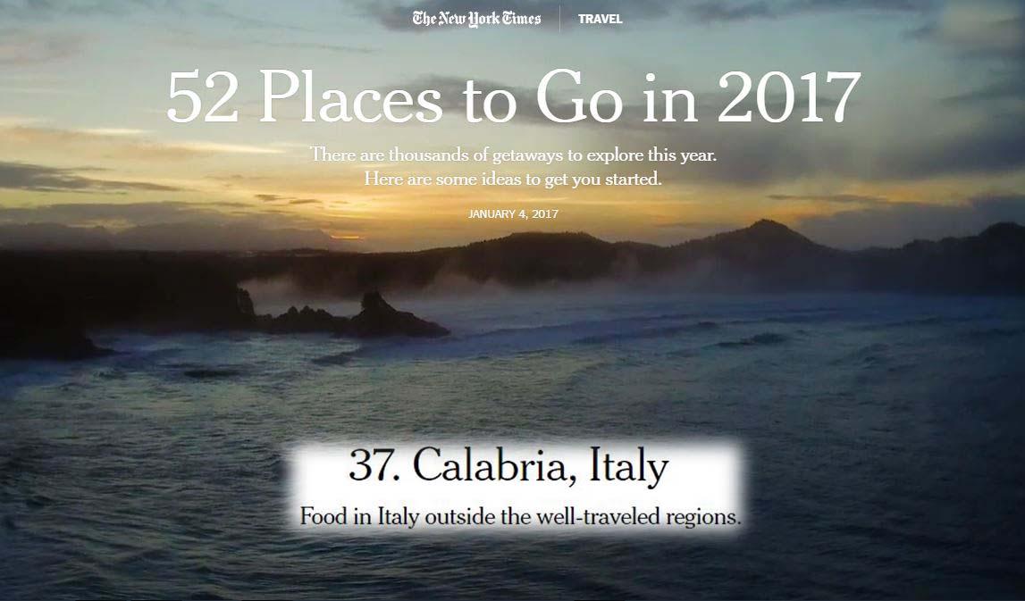 La Calabria orgoglio nazionale sul New York Time