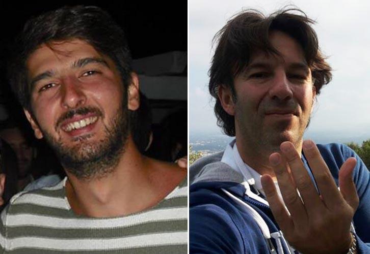 Da sinistra la vittima Giuseppe Sciannimanico e il presunto mandante Roberto Perilli, collega di lavoro