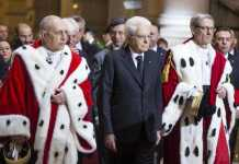 Il capo dello Stato Mattarella con il procuratore generale della Corte di Cassazione Ciccolo e il primo presidente Canzio, all'inaugurazione dell'anno giudiziario a Roma