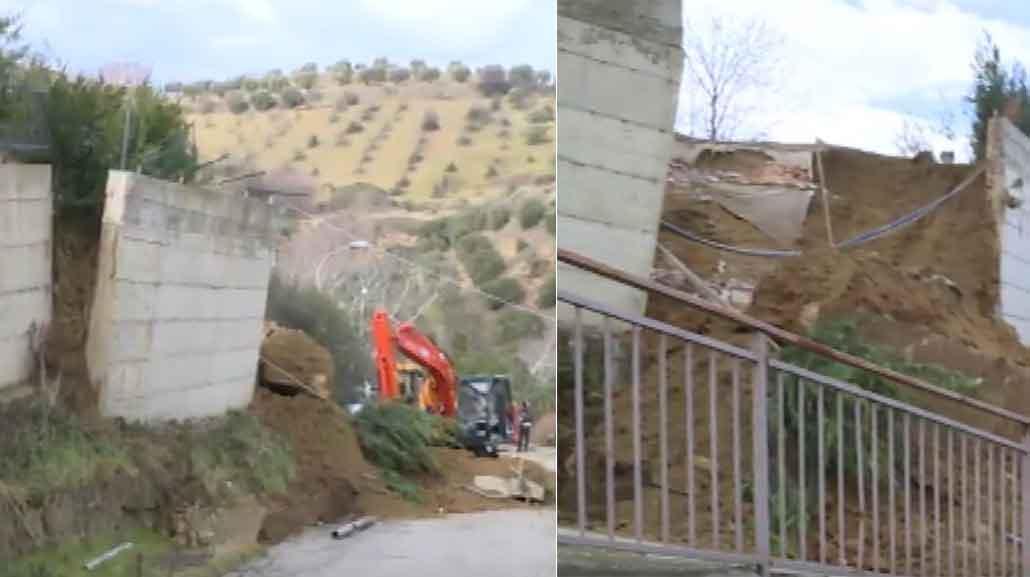 Il muro crollato a Montalto Uffugo