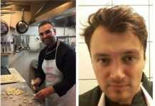 Da sinistra la vittima Alfio Fallica e il collega cuoco Ricard Nika