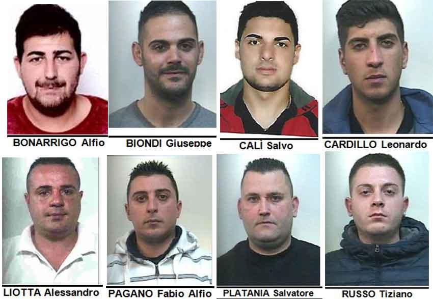 Gli arrestati nell'operazione Bingo a Giarre