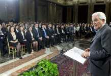 Mattarella durante il suo discorso ai giudici