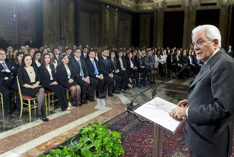 Mattarella durante il suo discorso ai giovani magistrati ordinari