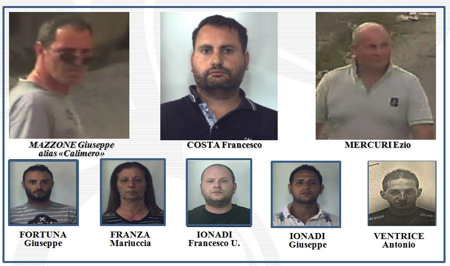 Gli arrestati nell'operazione Calimero a Vibo Valentia