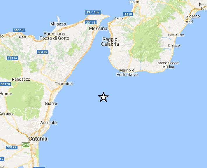 terremoto a largo coste catania calabria