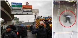 La polizia francese all'aeroporto Orly di Parigi. A destra l'assalitore ucciso