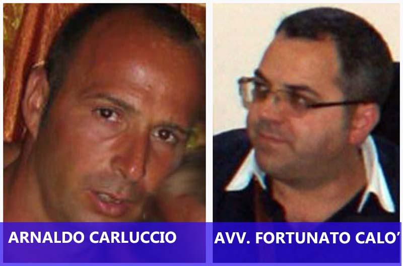 Da sinistra Arnaldo Carluccio (vittima) e l'avvocato Fortunato Calò